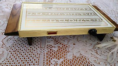 Vintage Electric Warming Tray Heated Serving Tray Retro Hot Plate White And Gold