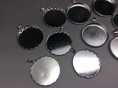 10 x Silver Tone Cabochon Pendant Tray settings 25mm Stock Clearance Last Stock