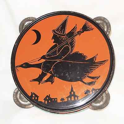 Witch flying Goose tin Tambourine noisemaker Halloween decoration J. Chein 1920s
