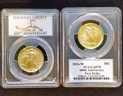 2016-W Gold Walking Liberty 50c PCGS SP70 100th Anniversary, First Strike