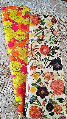 Vintage Wrapping Paper Rolls, Floral Large Size Department Store Lot Of 2