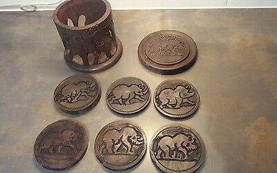 African hand carved wooden coasters And holder