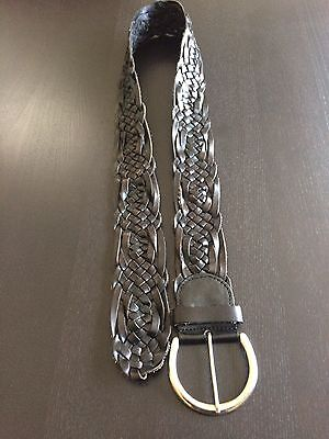 Express Genuine Leather Braided Belt Woman's L Black Silver Tone Metal Buckle