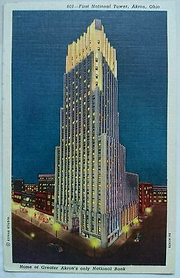 Vintage Linen Postcard First National Tower Akron Ohio U.s.a. Circa 1950's