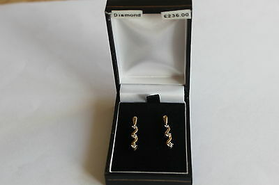 9ct YELLOW GOLD REAL DIAMONDS STUD EARRINGS NEW/BOXED