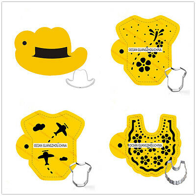 4 Pcs Pack Baby Clothes Cookie Cake Stencil Decorate Mould Fondant Biscuit Tool