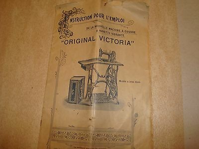 machine a coudre ORIGINAL VICTORIA NOTICE