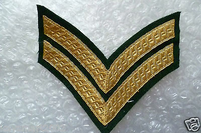 Patch- Chevron, 2 Bar Rank Badge, Mess Dress, Gold on Green, Army,Military(New*)