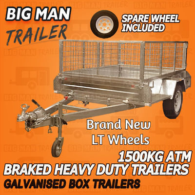 8x5 with EXTRA Wheel Galvanised Box Trailer with 600mm Cage Brake Heavy Duty