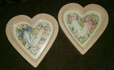 2 Vintage Home Interiors Heart Shaped Decor, Roses Ribbons, Flowers, Pink