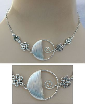 Silver Celtic Knot & Spiral Strand Necklace Jewelry Handmade NEW Adjustable