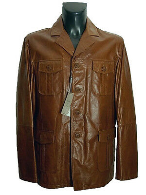 Giubbotto Giaccone uomo Vera Pelle Tg. IT 54 Made in Italy New Leather Jacket