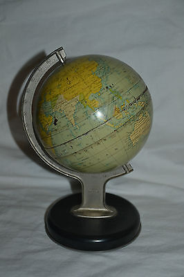 1950's Earth Globe Tin Chad Valley with Clock Setting Made in England