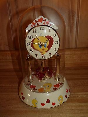 "9.5"" TWEETY Bird, red pink Hearts Anniversary clock, porcelain base, glass dome"