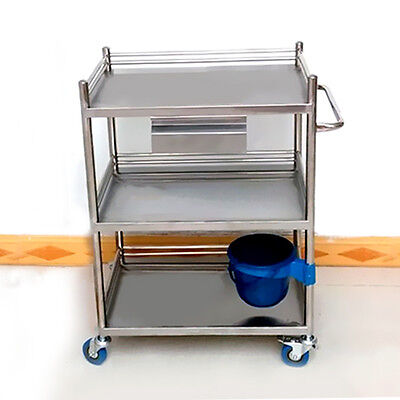 Yes High Quality Three Layers Serving Medical Dental Lab Cart Trolley Stainless