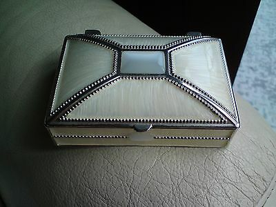 Beautiful White Metal And Mother Of Pearl ?, Trinket Box, Vgc, Free-Mailing..