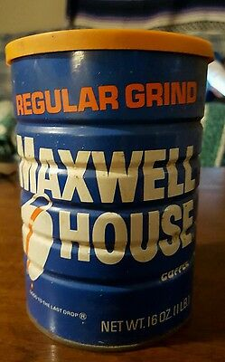 Old Maxwell House Regular Grind Coffee Can 1lb orange lid vintage