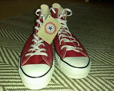 VINTAGE Deadstock 80's Nos CONVERSE Red Chuck Taylor SNEAKERS MADE IN USA 11