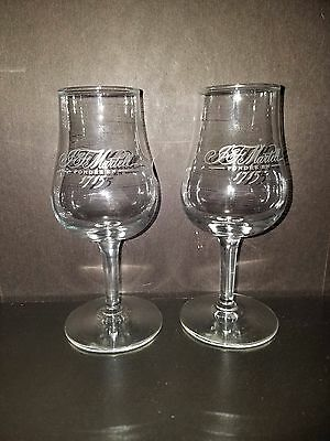 Pair of JF Martell Cognac Brandy Snifter French Script Glasses