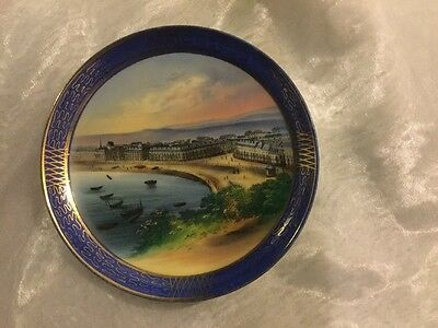 A Painted Seaside Plate Some Paint Missing ?Brighton ?  Eastbourne
