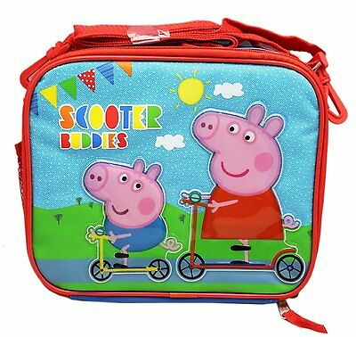 New Peppa Pig Girls Canvas Scooter Buddies Insulated Lunch Bag