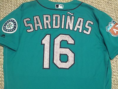 Luis Sardinas Size 46 #16 2016 Seattle Mariners game used jersey Spring Training