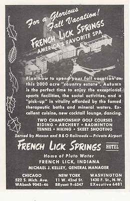 1947 French Lick Springs: Americas Favorite Spa Print Ad (6139)