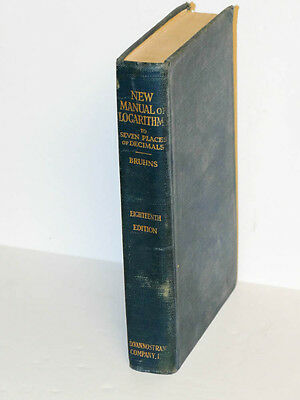 A New Manual of Logarithms To Seven Places Dr. Bruhns Hard Cover *REDUCED*