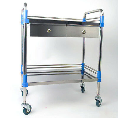 Durable Home Medical Dental Lab Trolley Y2R3 Stainless Steel Two Layers Drawer