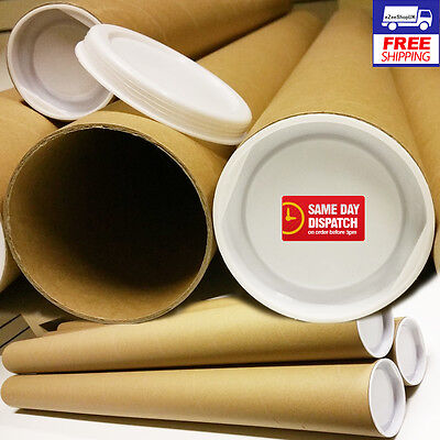 A1 Postal Tubes Cardboard 95cm 51mm 2mm with 2 Plastic Caps - Box of 10 Tubes