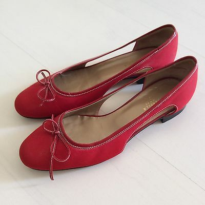 Stunning RED Cut Out Italian Fabric Shoes 38.5