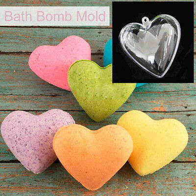 65/80/100 mm DIY Clear Plastic Bath Bomb Mould Acrylic Mold Heart Shape