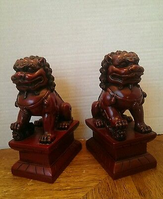 China red  sculpture Feng Shui Town house Foo Dogs lion pair Statue 7x4 heavy