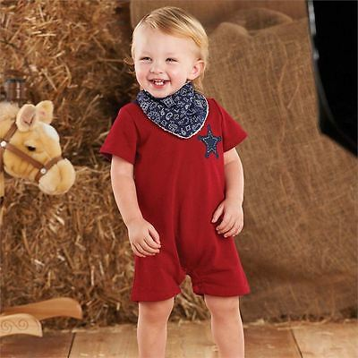 NWT Mud Pie Baby Boys Sz 9-12 Months Red Sheriff One-Piece Outfit & Bandana Bib