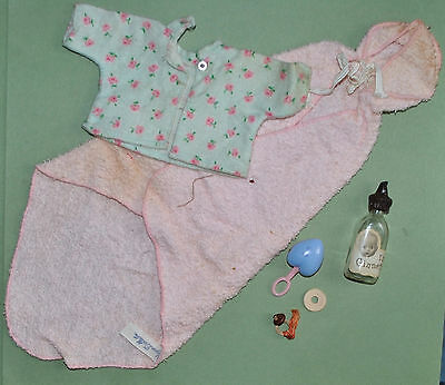 Vintage Ginnette Doll Terry Wrap Bottle Rattle Pajama Top Pacifier Rings