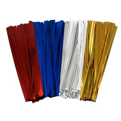 Metallic Twist Ties Wire for Cello Bags Cake Pops 4 Inch 10cm Pack of 100