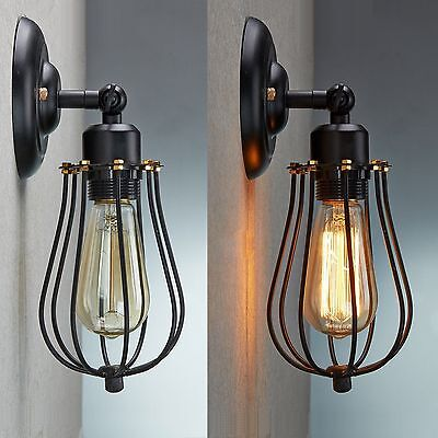 Vintage Industrial Loft Rustic Cage Sconce Wall Light Wall Lamp Fixture
