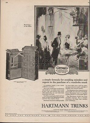Hartmann Wardrobe Trunk Racine WI Back Stage at the Follies Dancer 1925 Print Ad