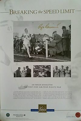 Sir Roger Bannister Signed In Person Large Print Coa Breaking The Speed Limit