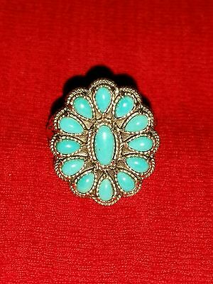 Carolyn Pollack Sleeping Beauty Turquoise Blossom Ring Size 10 Cr 925 Aw Qvc