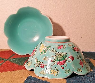 2 Qing Qianlong famille rose rice bowl antique chinese art pottery vtg flower