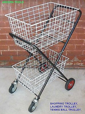 Shopping Trolley Folding Double Decker W Baskets & Steering Wheels, Heavy Duty.