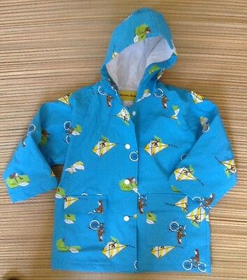 Curious George Raincoat. Size 2. Blue. Excellent Condition. Pre-Owned