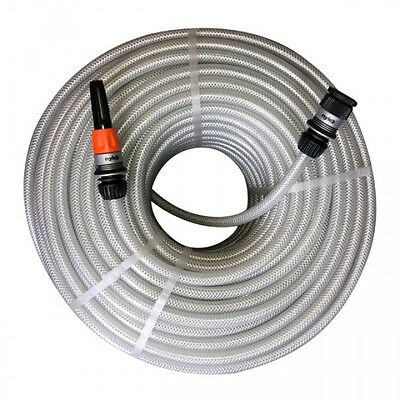 NEW BARFELL Clear PVC Braided Pressure 12mm 50 metre Hose with set of Nylex Fitt