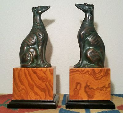 TOYO bronze whippet statue vtg borzoi wolfhound bookends library table book art