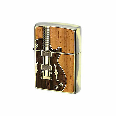 Authentic Zippo Guitar Wood Inlay & Antique Brass Japan Model