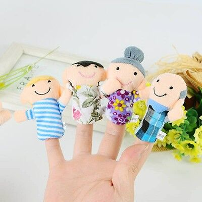 Cute 6Pcs Fuuny Family Finger Puppets Cloth Doll Baby Kid Educational Hand Toy