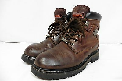 Brown Leather Harley Davidson Motorcycle Boots Size 7