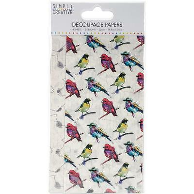 Simply Creative Decoupage Papers 4 Sheets SCDEC067 Vibrant Birds