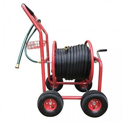 NEW HF 18mm Black Fire Hose with ZORRO Steel Cart Trolley & Brass Connectors